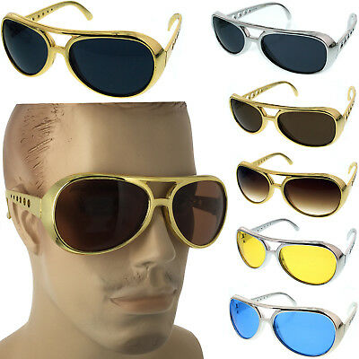 Classic ELVIS PRESLEY Sun Glasses LAS VEGAS COSTUME GOLD Silver USA Glasses