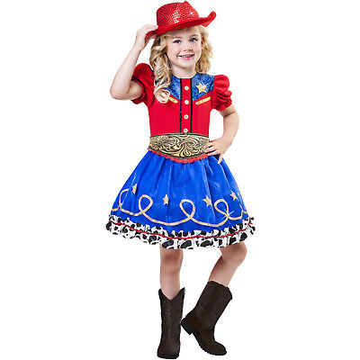 Cowgirl Cutie Cow Girls S M L Costume Dress Up Rodeo Red Sequin Hat Child - Cow Costume For Girls