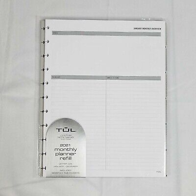 Tul Discbound 2021 Monthly Planner Refill Letter Size Jan-dec 8.5 X 11