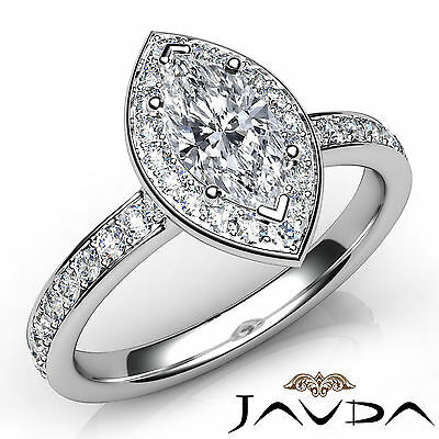 Cathedral Halo Micro Pave Marquise Cut Diamond Engagement Ring GIA G VVS2 0.95Ct