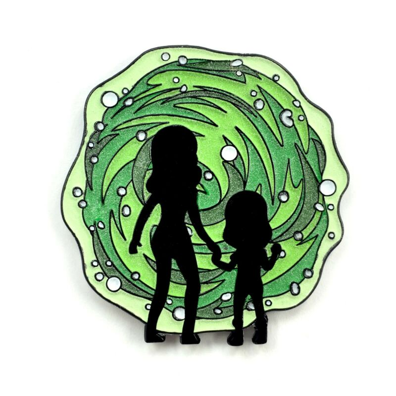 Rick and Morty Portal Glowing Enamel Pin Cartoon Heady Festival Hat Badge