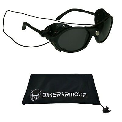 GLACIER POLARIZED SUNGLASSES Leather Side Shields Ski Mountain Climbing (Ski Sunglasses)