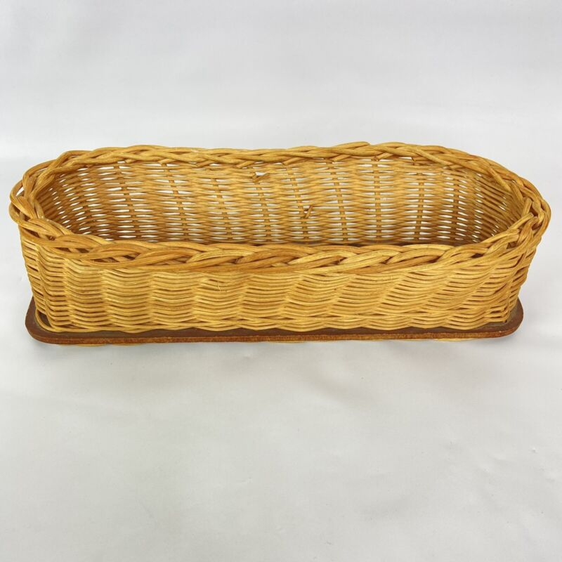 Vintage Rattan Wood Tray Basket Storage Serving Bethesda Lutheran Home
