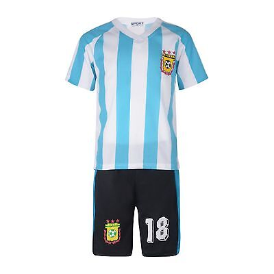 BOYS FOOTBALL KIT SHORT SET ARGENTINA WHITE/BLUE 2-10years BNWT #ARGENTINA