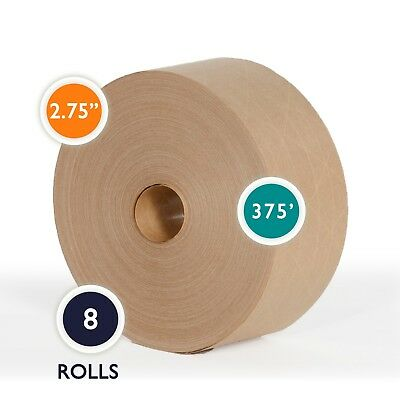 Reinforced Gummed Kraft Paper Tape Water Activated Tape 2.75 x 375 feet 8 Rolls -