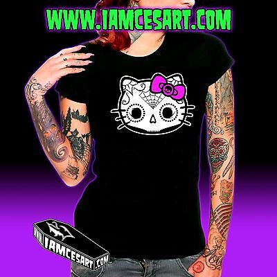 Hello Kitty Muerta Sugar Skull Women's Black 100% Cotton Tee Cat Kitty iamcesart