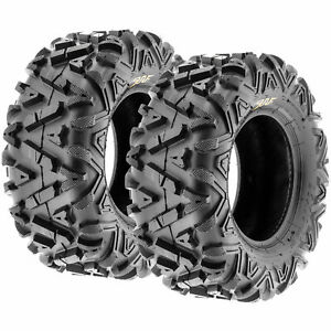 Pair of (2) 25x11-10 25x11x10 ATV SxS All Terrain AT 6 Ply Tires A033 by SunF