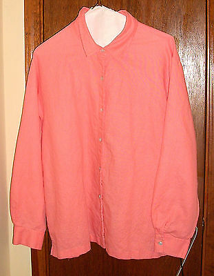 Susan Bristol Beautiful Peach Linen-Look Cotton Blend Blouse w/Fringe -