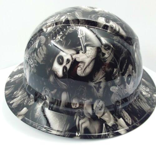 FULL BRIM Hard Hat custom hydro dipped , NEW TATTOO BABES HI DEF NEW 2