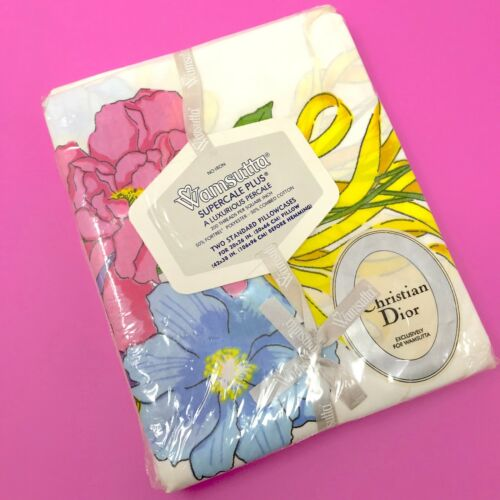 VINTAGE Rare Wamsutta Christian Dior Ribbon Bouquet 2 Standard Pillowcases New