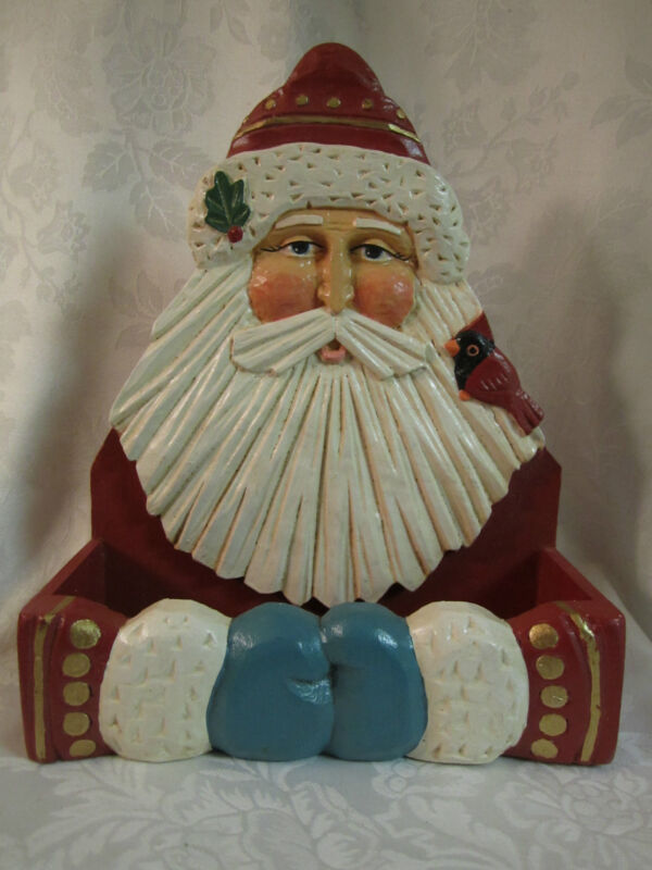 Old Fashioned Traditional Santa & Cardinal Painted Wood Card Box / Wall Décor