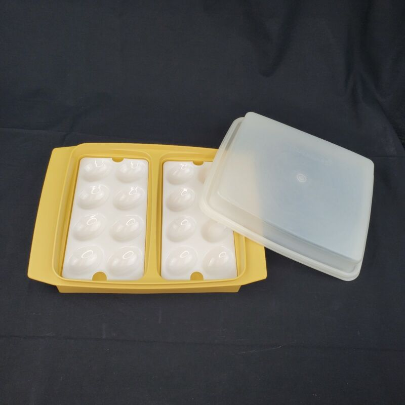 4pc TUPPERWARE Harvest Yellow Deviled Egg Keeper/Carrier Tray 1~#723 2~#665 /Lid
