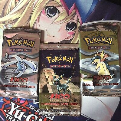 EMPTY Pokemon 1st Ed Neo Discovery Genesis Booster Pack Wrapper Artwork 3 Packs