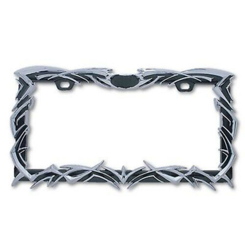 Black & Chrome Tribal Flame 2 Hole Metal Car Truck Universal License Plate Frame