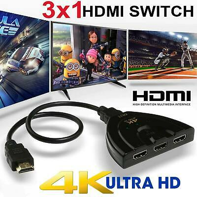 3 in 1 out HDMI Switch Hub 2K 4K 3D Splitter TV Switcher Adapter for HDTV PC USA Splitter Tv Hub