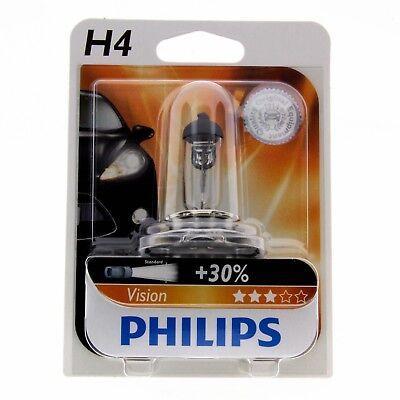 H4 Philips Vision Halogenlampe bis zu 30% mehr Licht 12342PR Blister 1 Stück