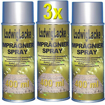 Spray Impregnador 3x 400ml sin Color Zapatos Tiendas Pabellón Toldos Sombrilla