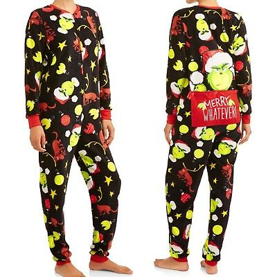 Grinch One Piece Pajamas Womens XL Drop Seat Christmas union suit JumpSuit Max ()