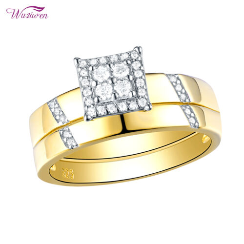 Wedding Engagement Ring Set For Women Yellow Gold Cz 925 Ste