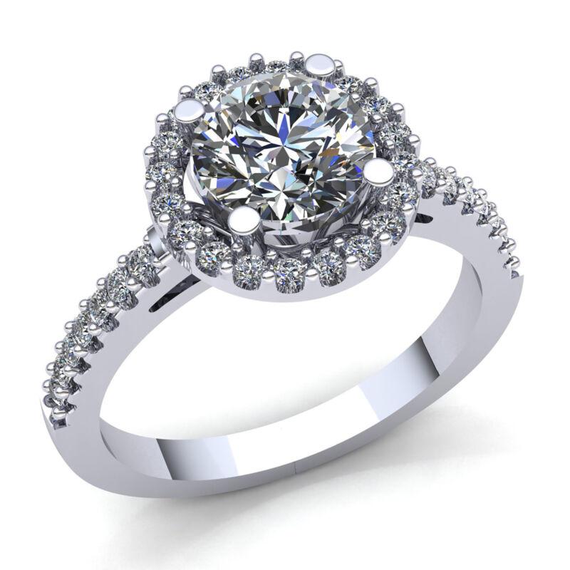 Genuine 2ct Round Cut Diamond Ladies Halo Solitaire Engagement Ring 18k Gold