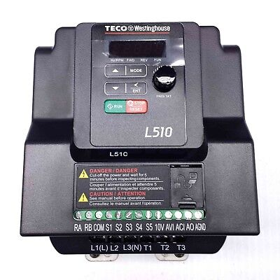 L510-203-h1-u 3 Hp Teco Variable Frequency Drive 1 Ph Input 3 Ph Out 230v.