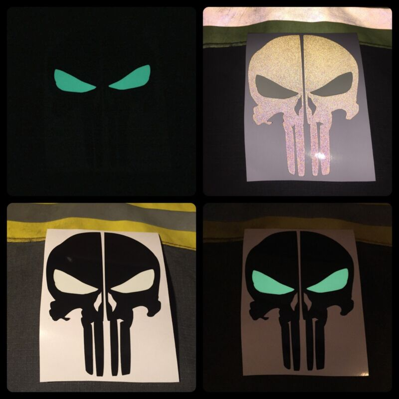 FIRE HELMET DECALS FIRE STICKER REFLECTIVE/GLOW PUNISHER SKULL DECAL - BLACK