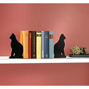 Holz Buchstützen Katze im Set 2er Set Buchstütze Dekofiguren Bücherstützte