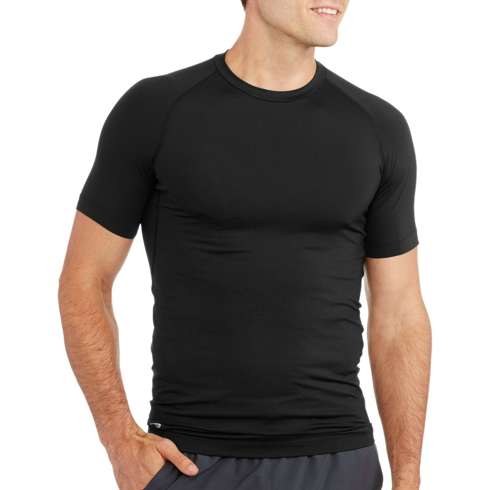 Starter Men's Short Sleeve Compression Top, Black