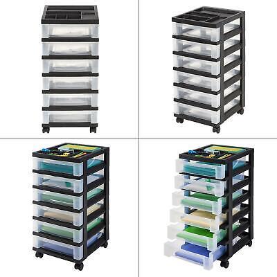 68 qt. 6 drawer storage bin in black   iris cart rolling organizer office home