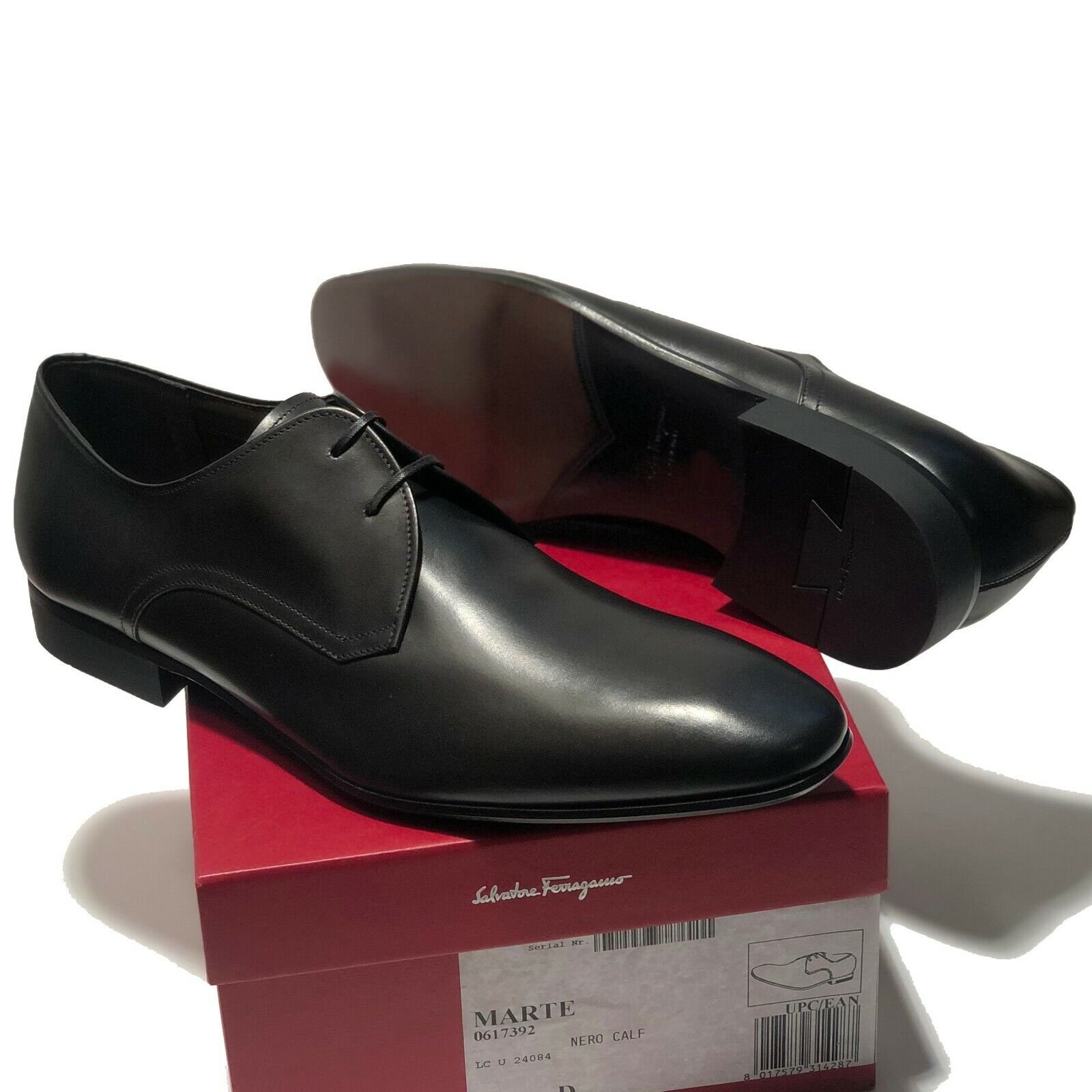 NEW Ferragamo Black Leather Fashion Plain Toe Derby Men's Dress Shoes Oxford