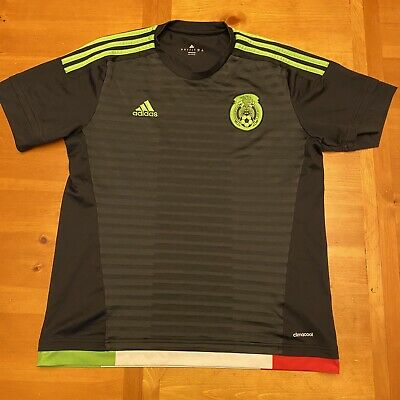 Adidas 2015 Mexico Home Black Men's Soccer Jersey Size Large Futbol World Cup  image