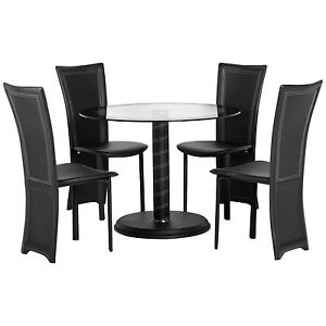 black clear glass round dining table and chair set with 4 leather