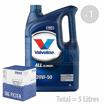 Engine Oil and Filter Service Kit 5 LITRES Valvoline All Climate 20w 50 5L
