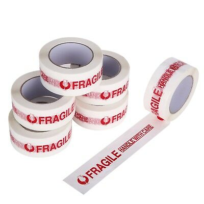 2 Rolls Fragile Handle With Care Carton Sealing Packing Tape 2x110 Yd 2mil