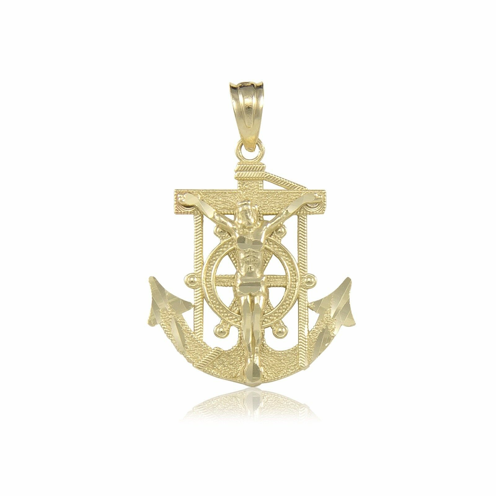 14K White Gold Mariner Anchor Cross Pendant for Men