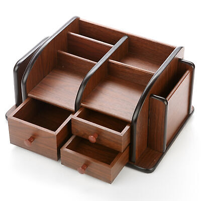 Brown Wood Office Supplies Desk Organizer Rack With 3 Drawers 3 Compartments