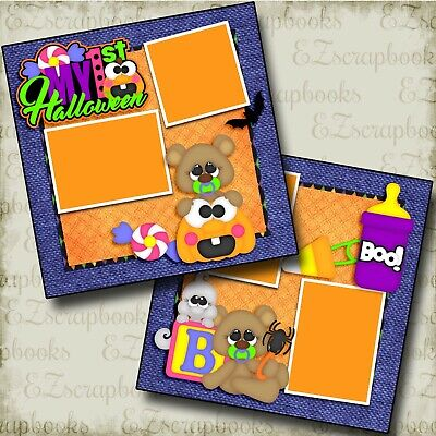 Halloween Scrapbooking Pages (My First Halloween - Baby - Premade Scrapbook Pages - EZ Layout)