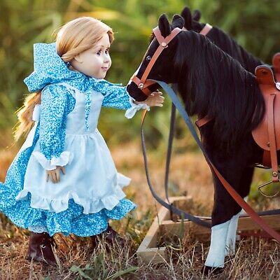 Little House Blue Calico Dress,Bonnet, Apron, Pantaloons For 18 Inch Dolls