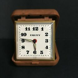 Vintage Equity Wind Up Travel Alarm Clock Brown Case Working Condition Glow Dk.