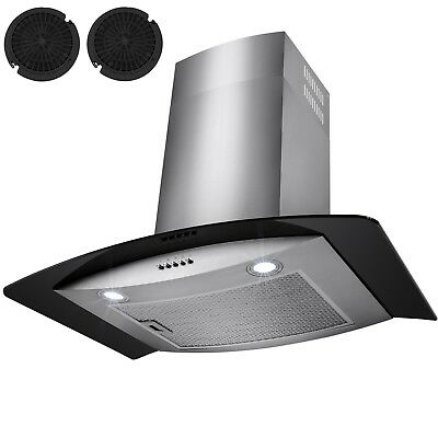"30""  Stainless Steel Wall Mount Range Hood Black Tempered Glass Kitchen Vent"