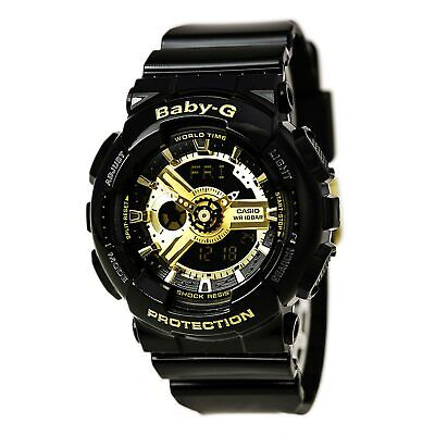 Casio Women's Watch Baby-G Black & Gold Tone Dial Black Resin Strap BA110-1A