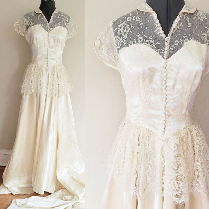 1930s Wedding Dress Cream Lace Satin Peplum Capped Sleeves Cathedral Train Med
