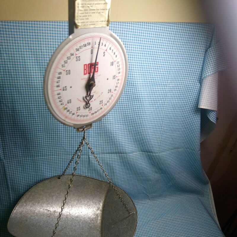 Vintage Borg Erickson Corp #60 Hanging Scale Mercantile Country Feed Store Farm