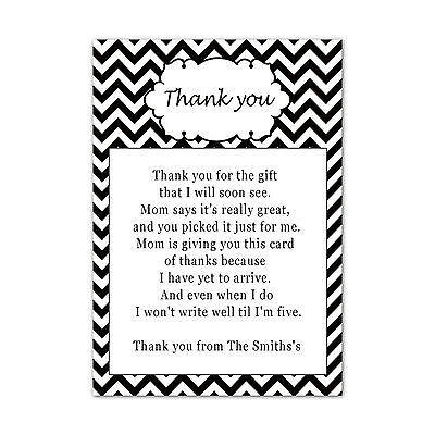 Personalized Baby Shower Thank You Cards (30 Thank You Cards Baby Shower Chevron White Black Personalized Greeting Note)