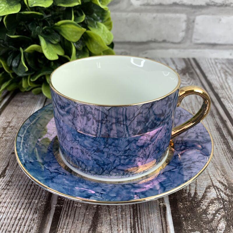Lusterware Blue Marble Tea Cup & Saucer Fine Porcelain Herman Dodge Made Japan