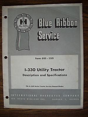 Ih Farmall Mccormick International 330 Specifications Manual
