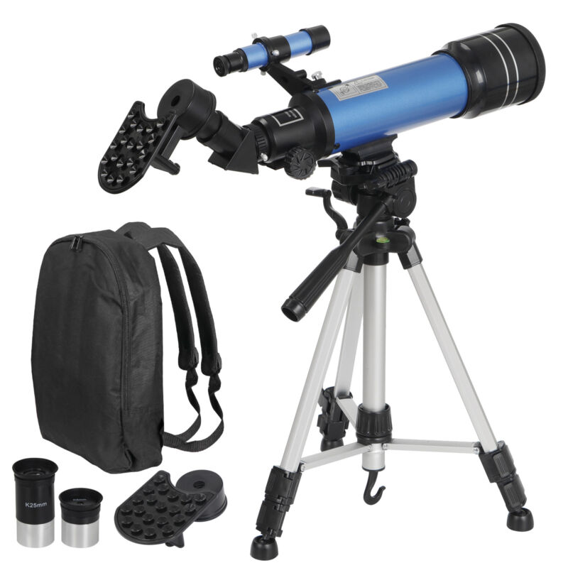 Portable Astronomical Refractor Telescope Travel Scope w/ Bag&Smartphone Holder
