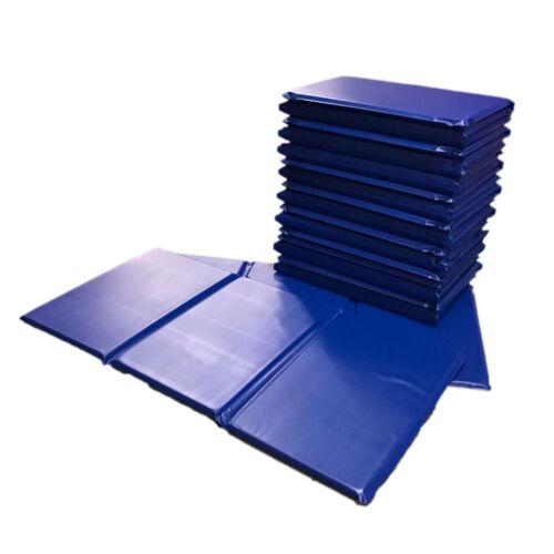 10x Kids Triple Folding Nursery Sleep Mats - Blue for Children & Toddlers