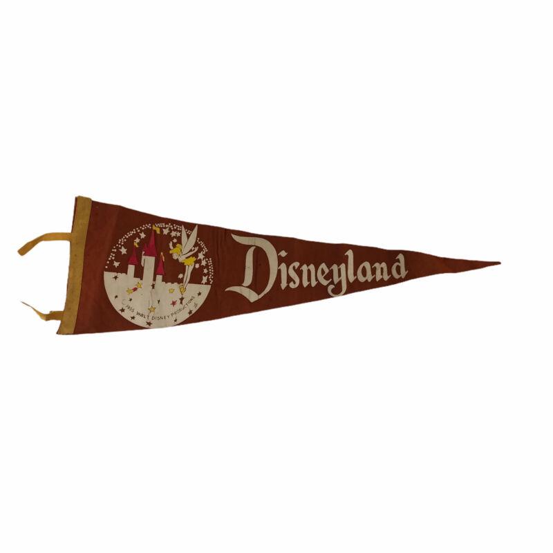 1955 Disneyland Opening Year Pennant Flag Tinker Bell Magic Castle Orange Felt
