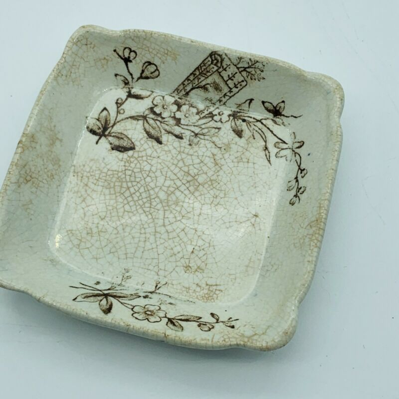 Antique Aesthetic Square BROWN BUTTER PAT E.M. & Co Trentham Transferware 1862